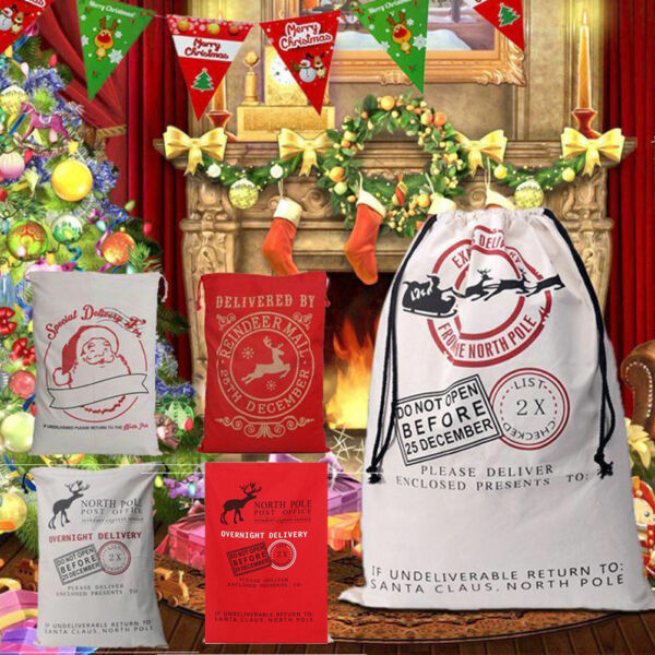 Christmas Santa Sack XMAS Gift Sack Stocking Storage Burlap Bag Wholesale Price