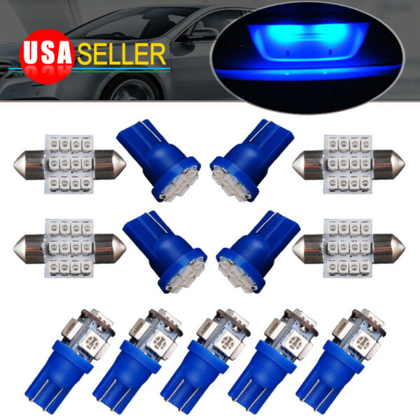 13pcs LED Lights Interior Package Kit Pure Blue Dome Map License Plate Lamp Bulb