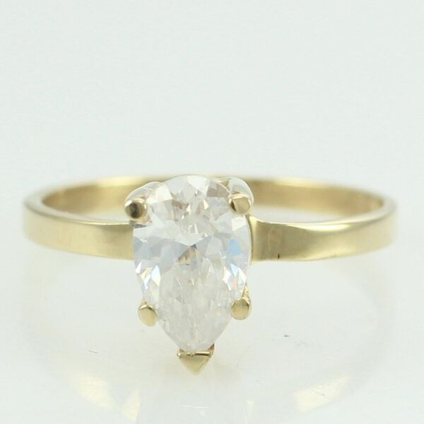 VINTAGE 14K Yellow GOLD Pear Cut Colorless CZ SOLITAIRE RING Size 4.75