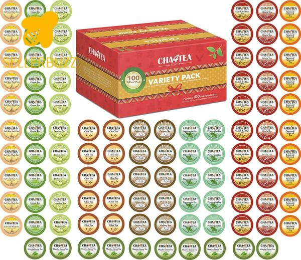 Cha4Tea 100-Count K Cups Tea Variety Sampler Pack For Keurig K-Cup Brewers Mult