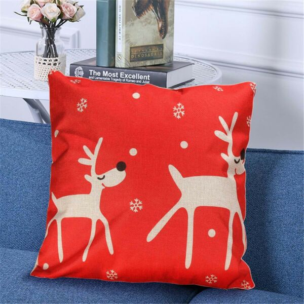 Christmas Printed Throw Pillow Cushion Case Cotton Linen Cover Christmas Pillow $8.99
