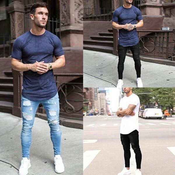 Mens Ripped Slim Skinny Stretch Denim Jeans Pants Distressed Frayed Trousers