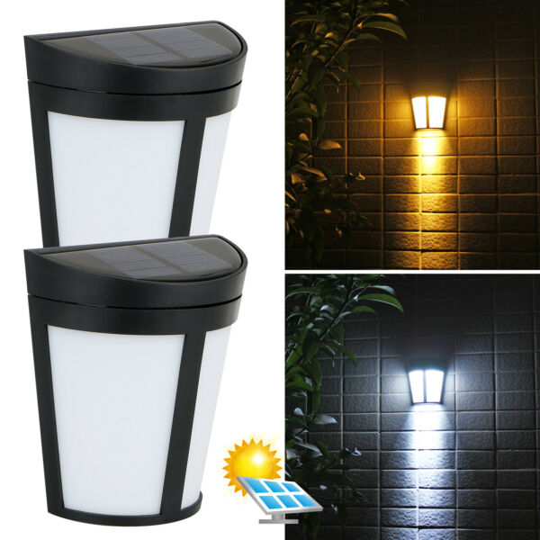 Solar Power 6 LED Wall Mount Light Outdoor Garden Path Way Fence Yard Patio Lamp