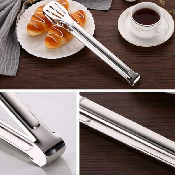 Stainless Steel Salad Bread BBQ Buffet Food Tongs Clip Kitchen Clamp LO