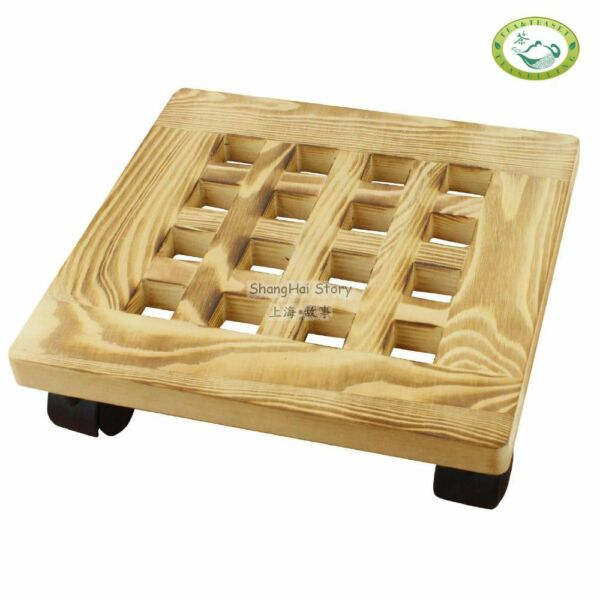 Pine Wood Square Plant Dolly  Caddy Plant Stand with Roller 10