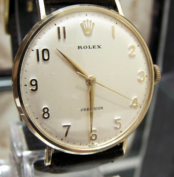 ROLEX 1968 MINTY ANTIQUE VINTAGE SOLID GOLD WATCH & ALL BOXES SERVICED STUNNER !