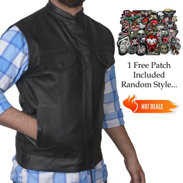 DEFY Men's SOA Black Genuine Premium Leather Anarchy Vest Motorcycle Biker Vest