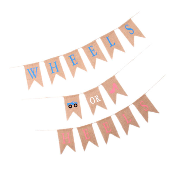 Wheels Or Heels Gender Reveal Natural Bunting Burlap Banner Baby Shower