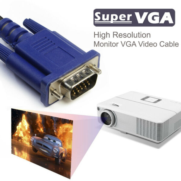 BLUE 15Pins SVGA VGA line Male To Male MM Cable HDMI Vga To HD Transfer Wire