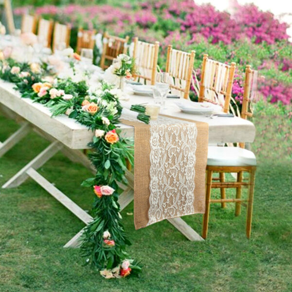 120pcs Burlap Lace Table Runner Hessian Table Cloth Wedding Home Party Decor