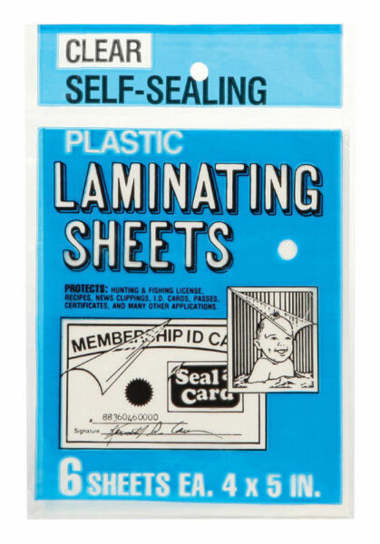 Seal a Card Plastic Clear Laminating Sheets No Tools Needed #64521 1 pack 6 Pcs $6.49