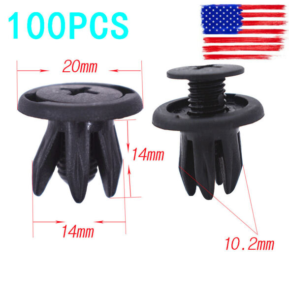 New 100pcs Auto Car Door Fender 10.2mm Hole Push Plastic Rivets Retainer Clips
