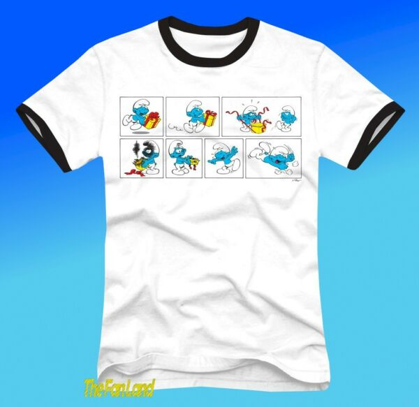 New The Smurfs 1981 Ringer White Mens Vintage T Shirt