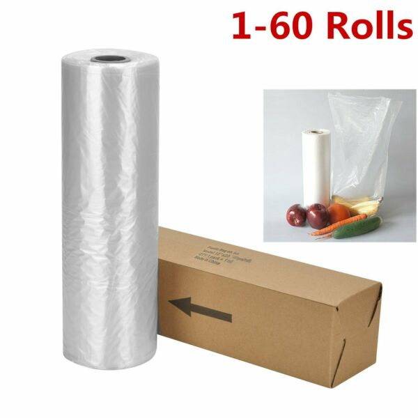 12x20 350 Bags  Roll Clear Plastic Produce Clear Bag Kitchen Fruit Vegetable