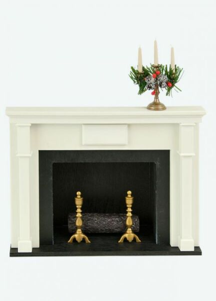 Authentic Byers Choice Accessory Fireplace wCandelabra White Candles Displays
