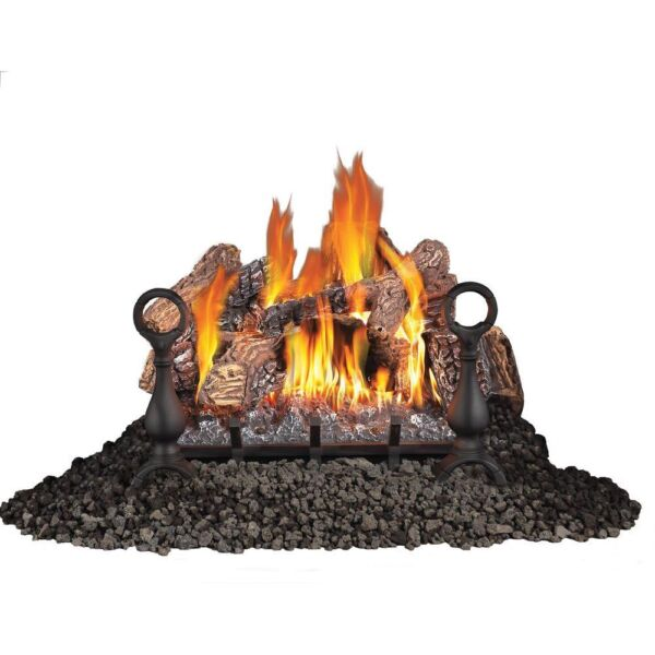 Fiberglow 18 Inch Vent Free Log Burner Set Insert for Propane Gas Fireplaces