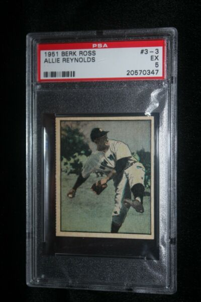 1951 Berk Ross Allie Reynolds #3-3 PSA 5 EX New York Yankees Parade Of Champions