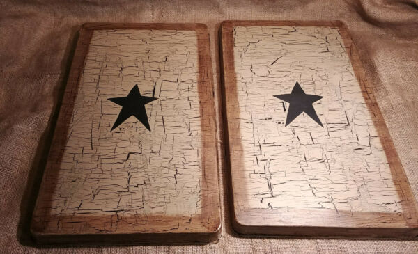 Primitive Crackle Painted Gas Burner Covers Rectangle Set of 2 Star in Choice $39.99