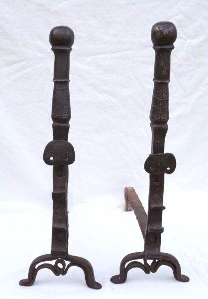 Antique Black Forest Wrought Iron Andirons Fire Dogs Fir Star France 16th C