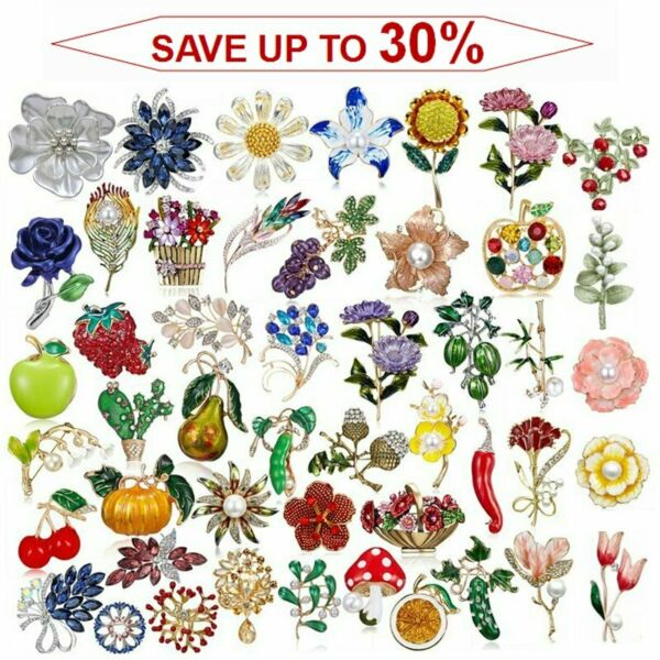 Wholesale Rhinestone Crystal Flower Plant Bridal Bouquet Enamel Brooch Pin Lot