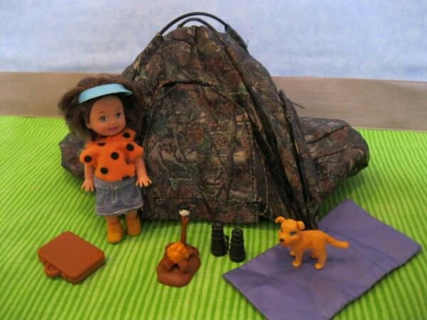 barbie KELLY Tommy Camo Tent Playset w Campfire Pet Dog Furniture fits 4quot; dolls $19.99