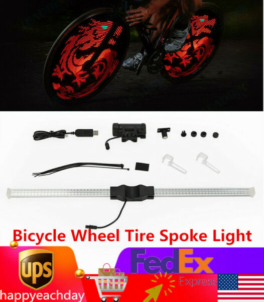 Programmable Patterns 64 LEDs DIY Bike Bicycle Wheel Display Tire Spoke Light $35.41