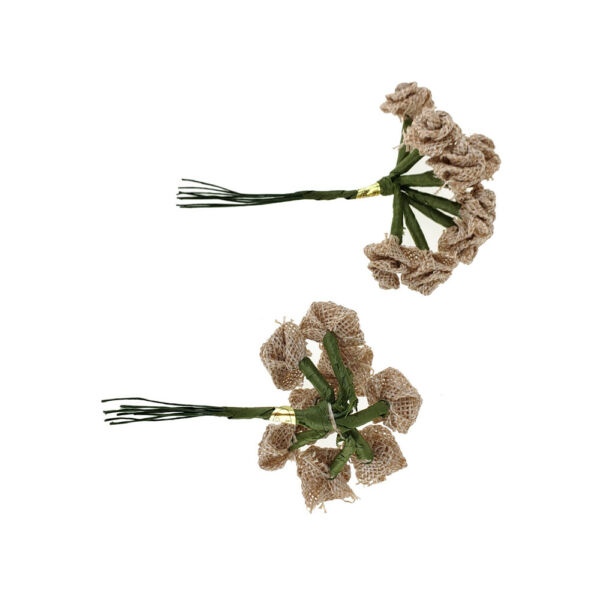 Burlap Rose Pick Mini Bunch Natural 4-Inch 12-Piece