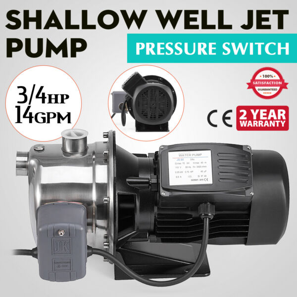 Shallow Well Jet Pump wPressure Switch 34HP 14GPM Stainless Steel 110V