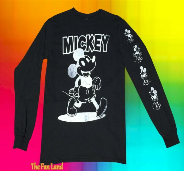 New Disney Mickey Mouse Long Sleeve Black Mens T Shirt