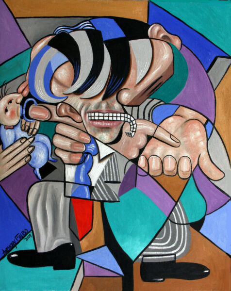 THE POLITICIAN ORIGINAL PAINTING MAN BABY CUBESTRACTION ANTHONY R FALBO