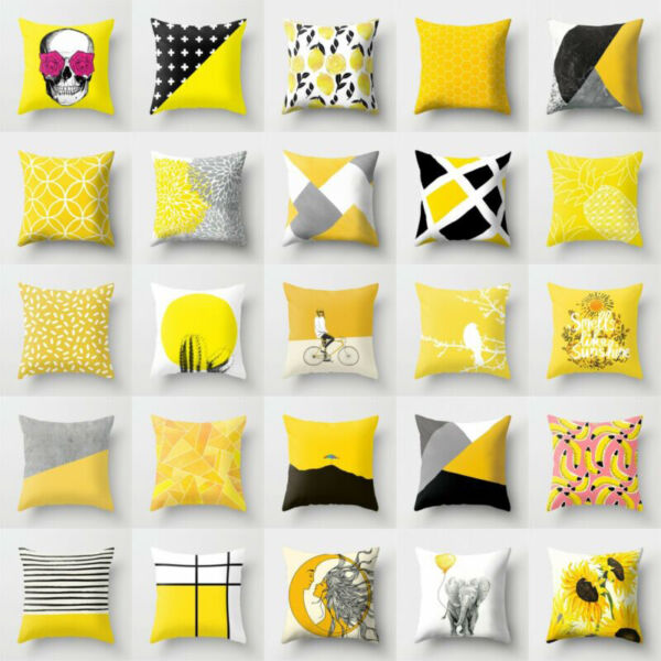 Cotton Case Waist Car Decor Yellow Cushion Sofa Pillow Throw Linen Cover Home $3.15
