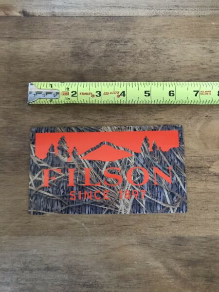 """Filson Since 1987 Orange Camo Outdoor Hunting Clothing Sticker Decal Approx 6"""""""