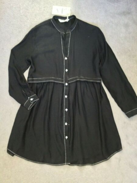 ZARA BLACK BLOUSE WITH LONG PEPLUM AND WHITE STITCHING amp; BUTTONS XS BNWT