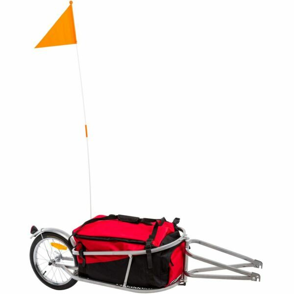 Apex BCT 8002 Single Wheel Pull Behind Bicycle Cargo Trailer with Cargo Bag $169.99