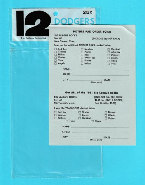 1961 Jay Publishing Los Angeles Dodgers 5x7 empty plastic envelope amp; order form
