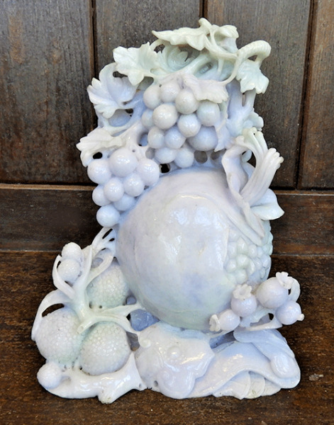 Antique Lavender and Pale Green Jade Carving of Fruit - Wedding Gift
