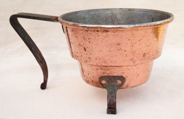 French Chef Cookware Tin Lined Sauce Boat BBQ Fireplace Wrought Iron 1900