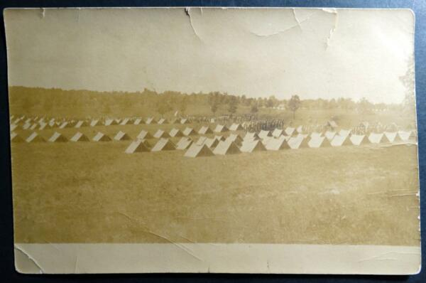 Postcard RPPC Real Photo Pre WWI Military Tents Camp dated C. 1907 UDB