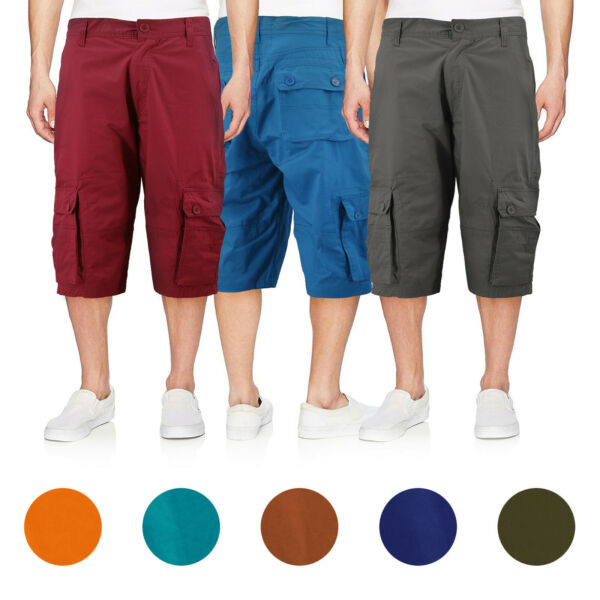 Men's Cotton Cargo Shorts Relaxed Fit With Multiple Button Flap Pockets $19.95