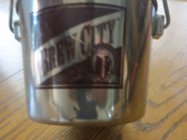 BREW CITY ADVERTISING BEER PAIL HOLD A CAN OR BOTTLE OF BEER AT BAR KEEP COLD