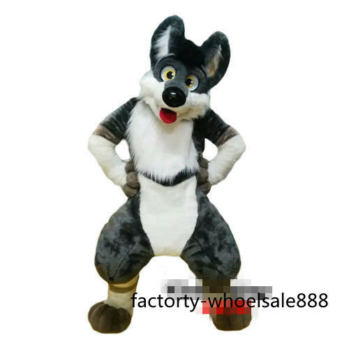 Hot Adult Grey Dog fox Mascot Costume Animal Costume long Fur Suit Fast shipping