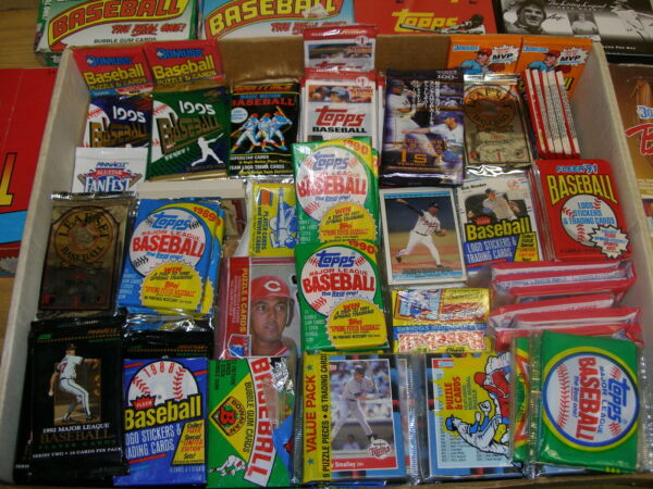 Huge LOT Vintage Over 1000 Baseball Cards in UNOPENED packs 1980#x27;s 1990#x27;s Bonus