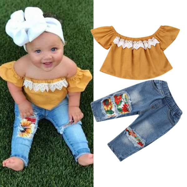 2PCS Toddler Kids Baby Girls Clothes Off Shoulder Shirt Tops+Jeans Pants Outfits