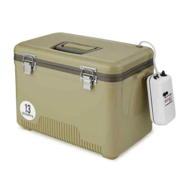Engel 13 Quart Insulated Live Bait Fishing Outdoor Cooler With Water Pump Tan