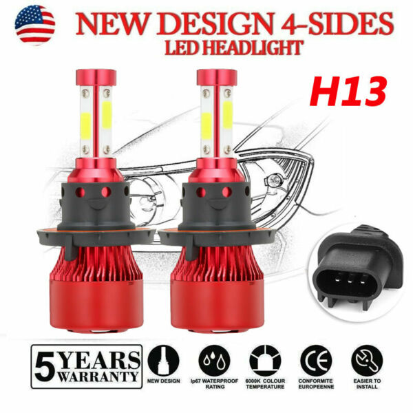 H13 4 Sides LED Headlight for Dodge Ram 1500 2500 3500 2006-2012 High Low Beam
