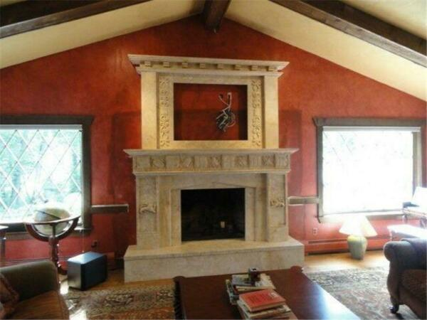 LARGE HAND CARVED MARBLE TRAVERTINE STONE FIREPLACE MANTEL - LST037