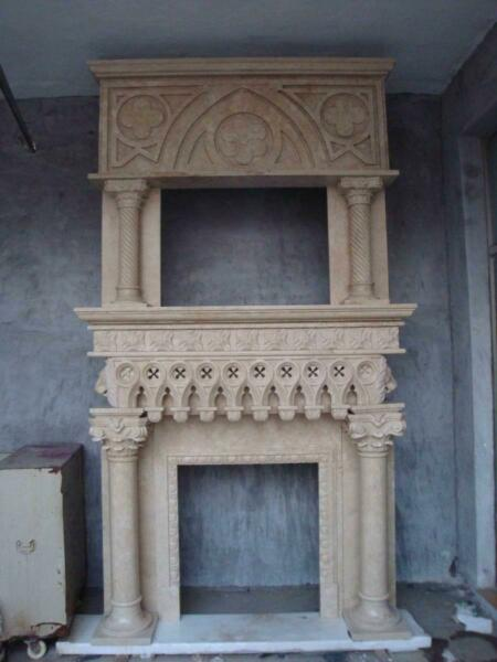 BEAUTIFUL HAND CARVED MARBLE GOTHIC ESTATE FIREPLACE MANTEL - LY099