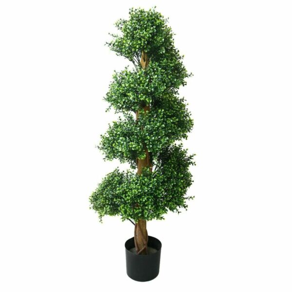 4 Foot Realistic Fake Boxwood Spiral Tree Indoor Outdoor Porch Patio Plant