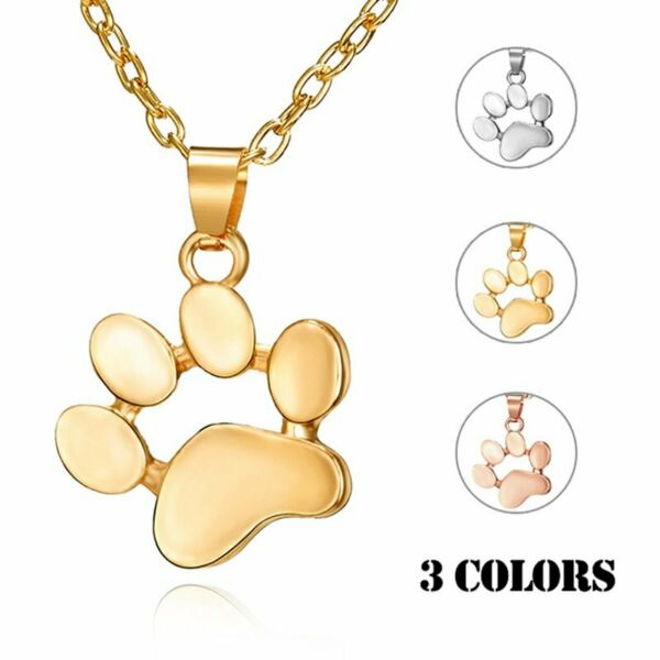 Fashion Cat Dog Paw Animals footprint Necklace Pendant Family Love Charm Gift C $1.61
