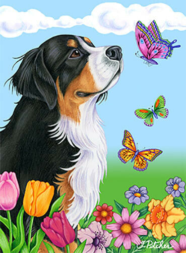 Butterfly House Flag - Bernese Mountain Dog 98051